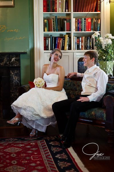 Bride and Groom inside The Inn At Brome Howard